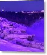 Sunrise And Moonset Over Minerva Springs Yellowstone National Park Metal Print
