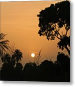 Sunrise And Silhouettes Metal Print