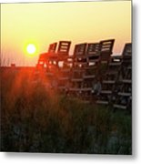 Sunrise And The Lifeguard Chairs  Metal Print