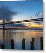Sunrise At Bay Bridge Metal Print