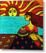 Sunrise At Beach Madhubani Painting Metal Print