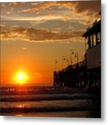 Sunrise At Daytona Beach Pier  004 Metal Print