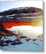 Sunrise At Mesa Arch Metal Print