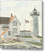 Sunrise At Nubble Light Metal Print