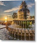 Sunrise At Pineapple Fountain Metal Print