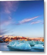 Sunrise At The Iceberg Lagoon Metal Print