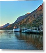 Sunrise At The Two Medicine Dock Metal Print