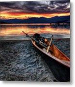 Sunrise Boat Metal Print