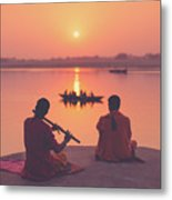 Sunrise By The Ganges Metal Print