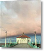 Sunrise Drama - Manhattan Beach Pier Metal Print
