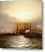 Sunrise From Chapman Dock And Old Brooklyn Navy Yard, East River, New York Metal Print