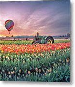 Sunrise, Hot Air Balloon And Moon Over The Tulip Field Metal Print