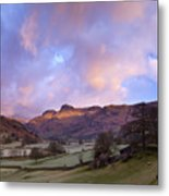 Sunrise In The Langdale Valley, Lake District, England. Metal Print