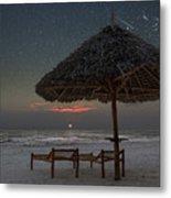 Sunrise In Tropical Beach Of Zanzibar With Starry Sky Metal Print