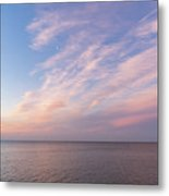 Sunrise Moonset - Feathery Clouds And Crescent Moon Over Water Metal Print