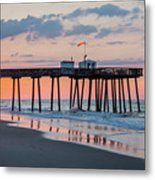 Sunrise Ocean City Fishing Pier Metal Print
