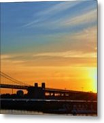 Sunrise On Ben Franklin Bridge Metal Print