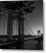 Sunrise On The Gwb, Nyc - Bw Landscape Metal Print