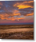 Sunrise On The Plains - Moon Over Prairie In Eastern Colorado Metal Print