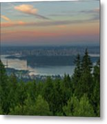 Sunrise Over City Of Vancouver Bc Canada Metal Print