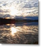 Sunrise Over Flooded Field In Bow Metal Print