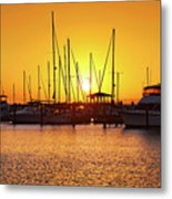 Sunrise Over Long Beach Harbor - Mississippi - Boats Metal Print