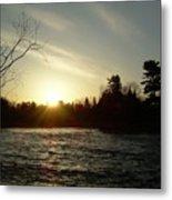 Sunrise Over Mississippi River Metal Print