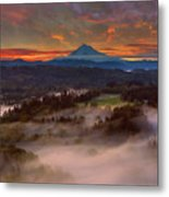 Sunrise Over Mount Hood And Sandy River Valley Metal Print