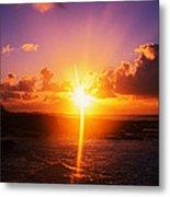 Sunrise Over Ocean, Sandy Beach Park Metal Print