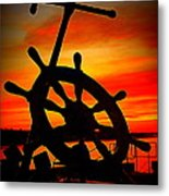 Sunrise Over The Captain's Wheel 2 Metal Print