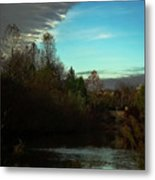Curtain Over The Pond Metal Print