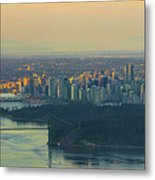 Sunrise Over Vancouver Bc And Stanley Park Panorama Metal Print