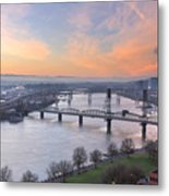 Sunrise Over Willamette River By Portland Metal Print
