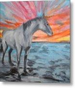 Sunrise Pony Metal Print