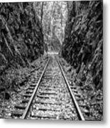 Sunrise Rails Black And White Vertical Panorama Metal Print