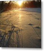 Sunrise Reflecting Off Mississippi River Ice Metal Print