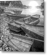 Sunrise Rowboats  In Black And White Metal Print