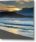 Sunrise Seascape With Headland And Clouds Metal Print