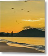 Sunrise Seascape With Mountain And Birds Metal Print
