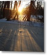 Sunrise Shadows On Ice Metal Print