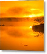 Sunrise Through Lake Mist Metal Print