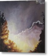 Sunrise Through The Pines Metal Print by Diane Kraudelt