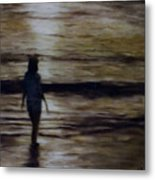 Sunrise Walk In The Sea Metal Print