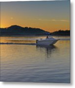 Sunrise Waterscape And Boat On The Bay Metal Print