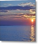 Sunrise With Boat Metal Print