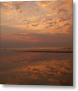 Sunrise With Reflective Symmetry At Hunting Island Metal Print
