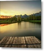 Sunset Above A Lake In High Tatra Mountains In Slovakia Metal Print