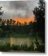 Sunset Above The Forest And Lake Metal Print