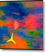 Sunset Abstract With Windmill Metal Print