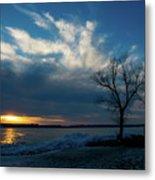 Sunset Along The Mississippi River Metal Print